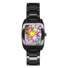 Beautiful Colorful Doodle Stainless Steel Barrel Watch