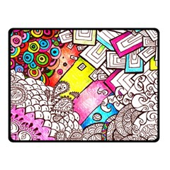 Beautiful Colorful Doodle Double Sided Fleece Blanket (small)