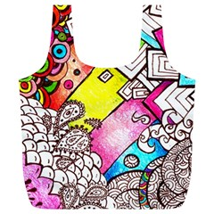 Beautiful Colorful Doodle Full Print Recycle Bags (l)