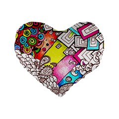 Beautiful Colorful Doodle Standard 16  Premium Flano Heart Shape Cushions