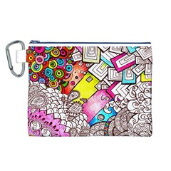 Beautiful Colorful Doodle Canvas Cosmetic Bag (L)