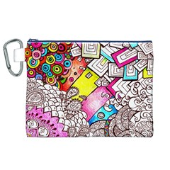 Beautiful Colorful Doodle Canvas Cosmetic Bag (xl)