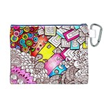Beautiful Colorful Doodle Canvas Cosmetic Bag (XL) Back