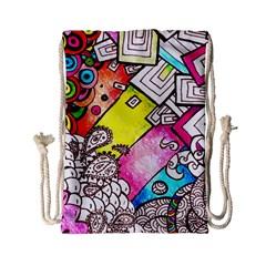 Beautiful Colorful Doodle Drawstring Bag (small)