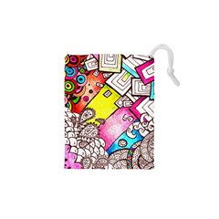 Beautiful Colorful Doodle Drawstring Pouches (XS)