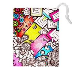 Beautiful Colorful Doodle Drawstring Pouches (xxl)