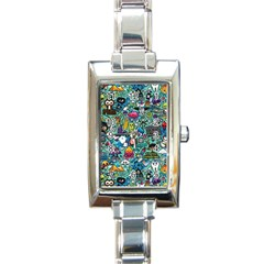 Colorful Drawings Pattern Rectangle Italian Charm Watch