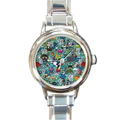 Colorful Drawings Pattern Round Italian Charm Watch