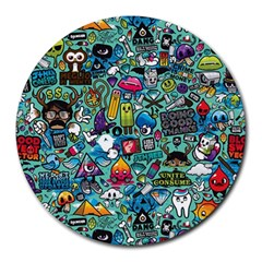 Colorful Drawings Pattern Round Mousepads