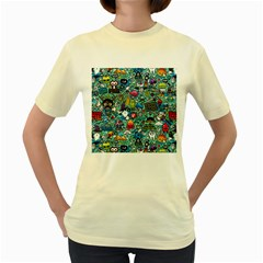 Colorful Drawings Pattern Women s Yellow T-Shirt