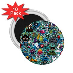 Colorful Drawings Pattern 2 25  Magnets (10 Pack)