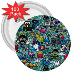 Colorful Drawings Pattern 3  Buttons (100 Pack)