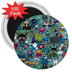 Colorful Drawings Pattern 3  Magnets (100 pack)