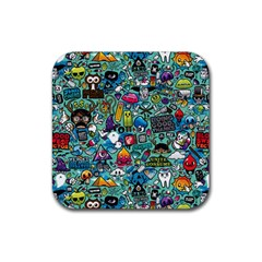 Colorful Drawings Pattern Rubber Coaster (square)