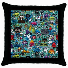 Colorful Drawings Pattern Throw Pillow Case (black)