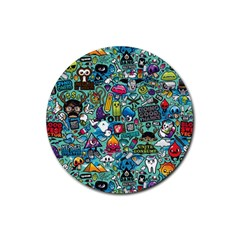 Colorful Drawings Pattern Rubber Coaster (Round)