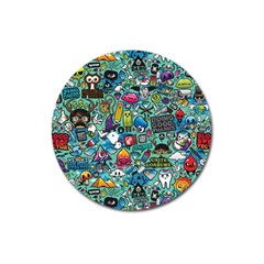 Colorful Drawings Pattern Magnet 3  (round)