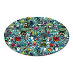 Colorful Drawings Pattern Oval Magnet