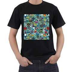 Colorful Drawings Pattern Men s T Shirt (black) (two Sided)