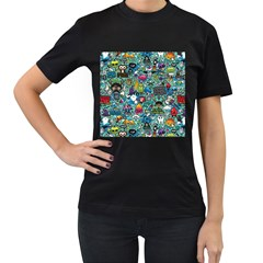 Colorful Drawings Pattern Women s T-Shirt (Black) (Two Sided)