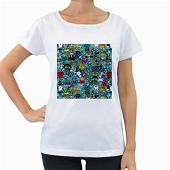 Colorful Drawings Pattern Women s Loose-Fit T-Shirt (White)