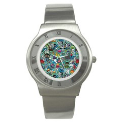 Colorful Drawings Pattern Stainless Steel Watch