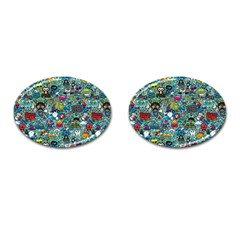 Colorful Drawings Pattern Cufflinks (Oval)