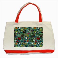 Colorful Drawings Pattern Classic Tote Bag (red)