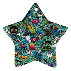 Colorful Drawings Pattern Star Ornament (Two Sides)