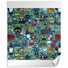 Colorful Drawings Pattern Canvas 11  x 14