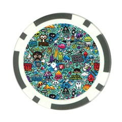 Colorful Drawings Pattern Poker Chip Card Guard