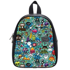 Colorful Drawings Pattern School Bags (small)