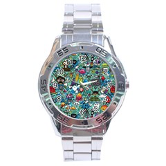 Colorful Drawings Pattern Stainless Steel Analogue Watch
