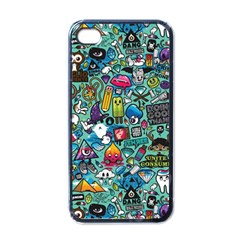 Colorful Drawings Pattern Apple iPhone 4 Case (Black)