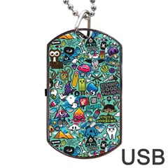 Colorful Drawings Pattern Dog Tag Usb Flash (one Side)