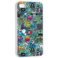 Colorful Drawings Pattern Apple Iphone 4/4s Seamless Case (white)