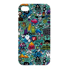 Colorful Drawings Pattern Apple iPhone 4/4S Premium Hardshell Case
