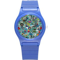 Colorful Drawings Pattern Round Plastic Sport Watch (s)