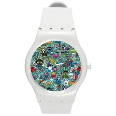 Colorful Drawings Pattern Round Plastic Sport Watch (M)