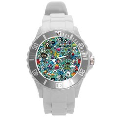 Colorful Drawings Pattern Round Plastic Sport Watch (l)
