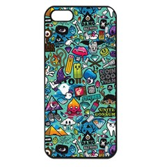 Colorful Drawings Pattern Apple Iphone 5 Seamless Case (black)