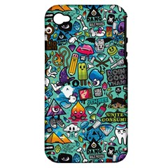 Colorful Drawings Pattern Apple iPhone 4/4S Hardshell Case (PC+Silicone)
