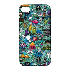 Colorful Drawings Pattern Apple Iphone 4/4s Hardshell Case With Stand