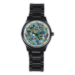 Colorful Drawings Pattern Stainless Steel Round Watch
