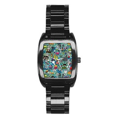 Colorful Drawings Pattern Stainless Steel Barrel Watch