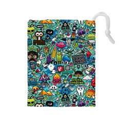 Colorful Drawings Pattern Drawstring Pouches (large)