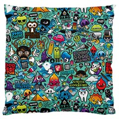 Colorful Drawings Pattern Large Flano Cushion Case (two Sides)