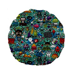 Colorful Drawings Pattern Standard 15  Premium Flano Round Cushions