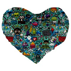 Colorful Drawings Pattern Large 19  Premium Flano Heart Shape Cushions