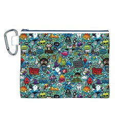 Colorful Drawings Pattern Canvas Cosmetic Bag (l)